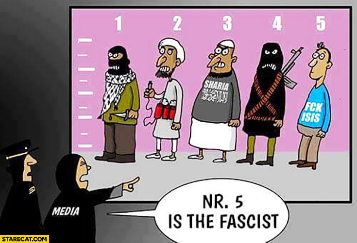 Media showing guilty No 5 is the fascist man wearing stop ISIS t-shirt fail