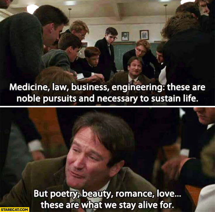 Medicine law business engineering these are noble pursuits and necessary to sustain life but poetry beauty romance love these are what we stay alive for dead poets society
