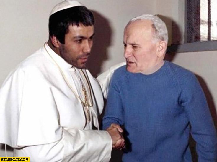 Mehmet Ali Agca John Paul II face swap photoshopped