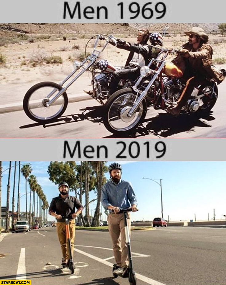 Men in 1969 Harley Davidson vs men in 2019 electric scooters