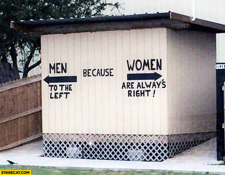 Men to the left because women are always right toilet signs