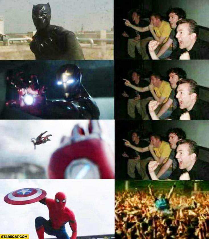 Men watching Civil War happy when Spiderman appears