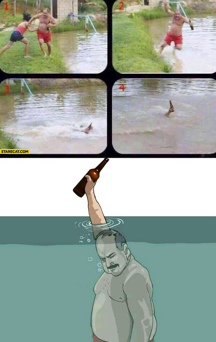 Men who saved the beer from drowning like Freddie Mercury