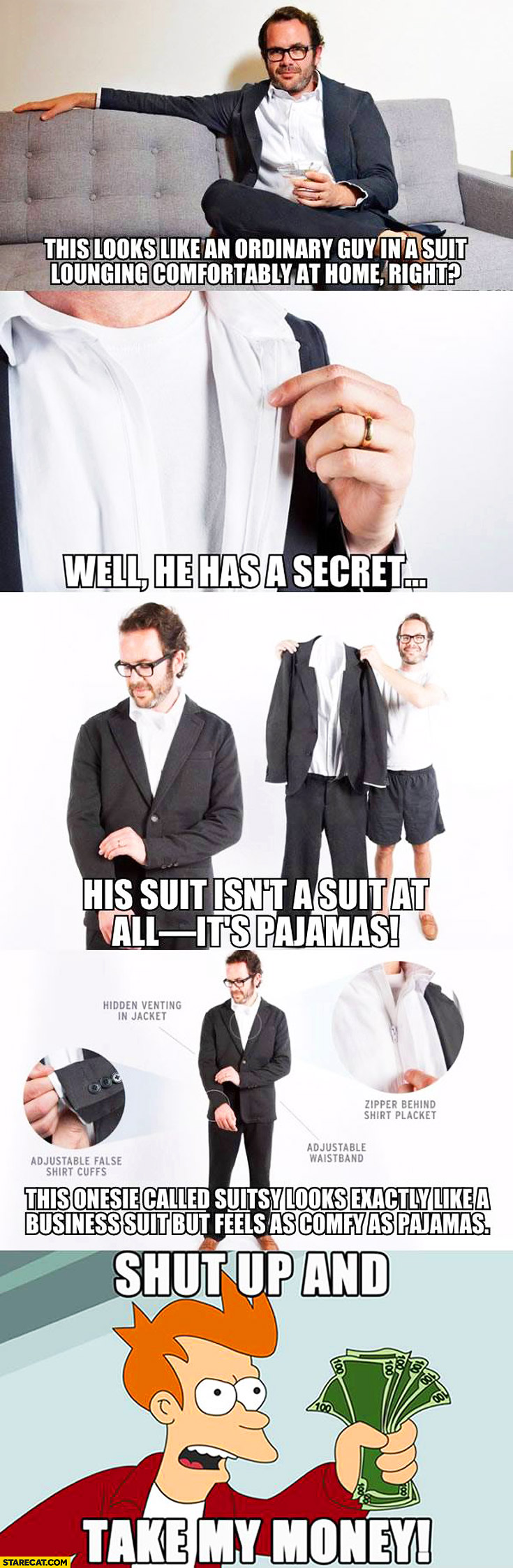 Mens pajamas looking like a suit