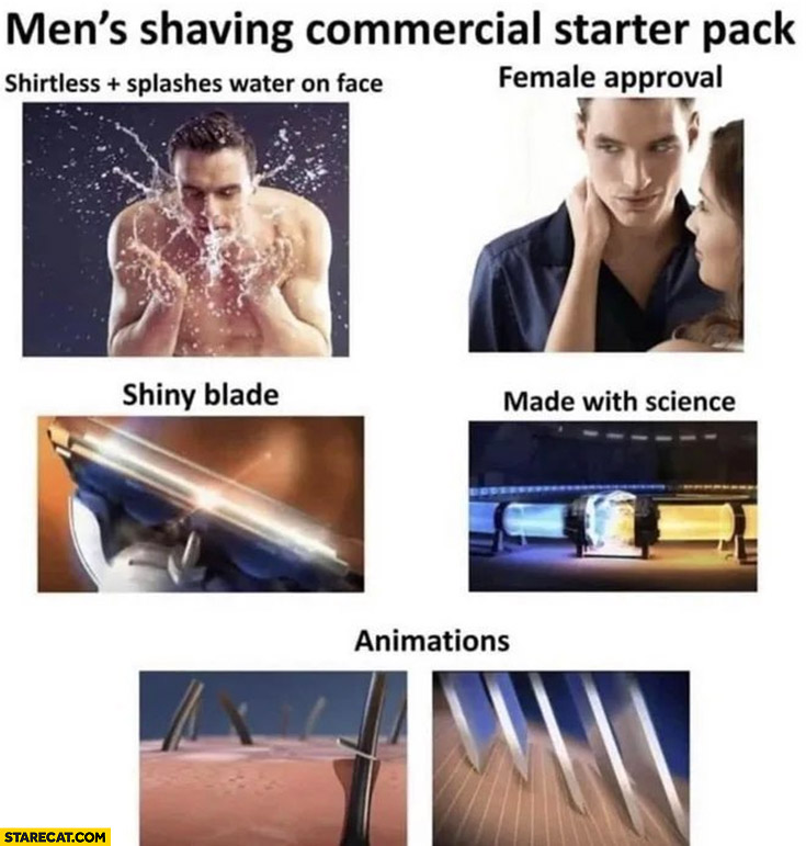 Men's shaving commercial starter pack: shirtless splashes water on face, female approval, shiny blade, made with science, animations