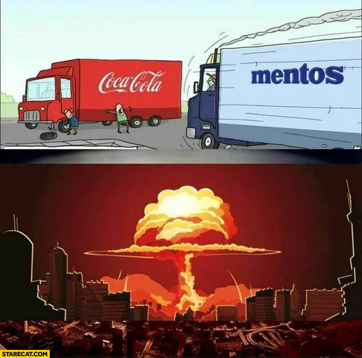Mentos truck hits Coca-Cola truck nuclear explosion