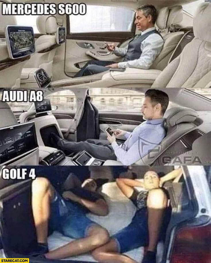 Mercedes s600, Audi a8, Golf 4 resting inside cars comparison