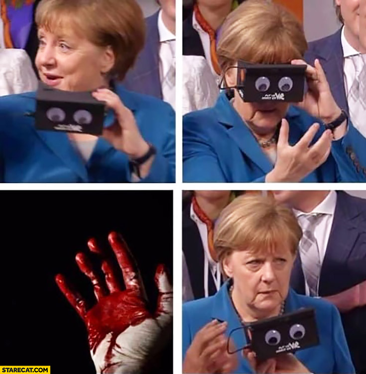 Merkel looking through a box seeing bloody hands