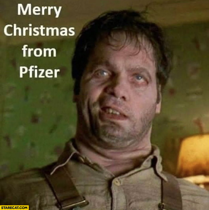 Merry Christmas from Pfizer man in black movie alien in human body