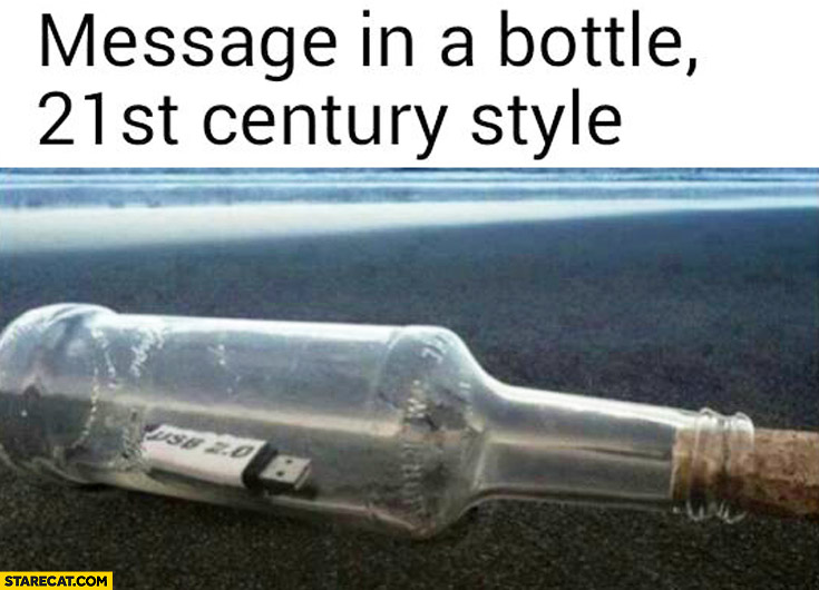Message in a bottle 21st century style pendrive