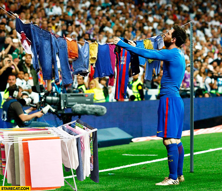 Messi hanging laundry during football match