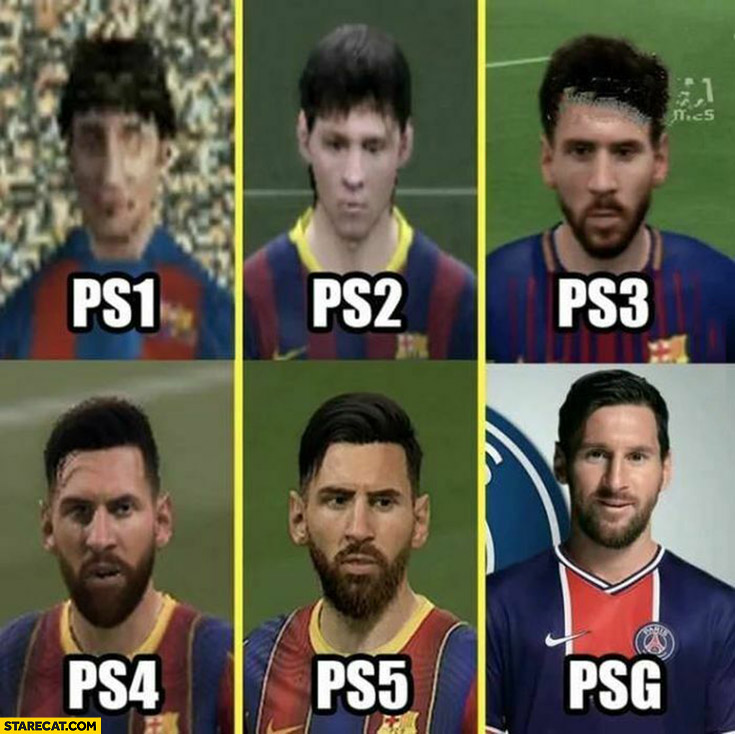 Messi ps1 ps2 ps3 ps4 ps5 PSG appearance comparison playstation