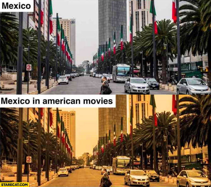 Mexico vs Mexico in American movies in yellow color filter