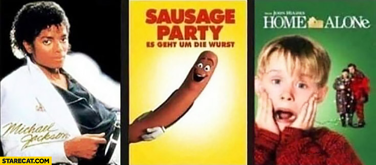 Michael Jackson sausage party Kevin Home Alone movie covers