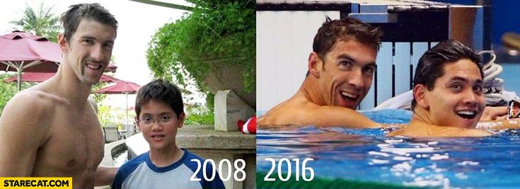 Michael Phelps photo with young Singapore's swimmer Joseph Schooling who beaten him Rio Olympics