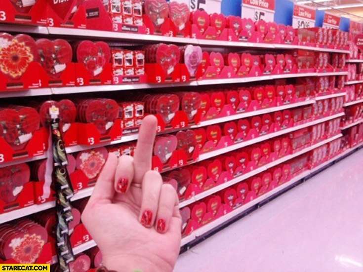 Middle finger fuck valentine's day market shop