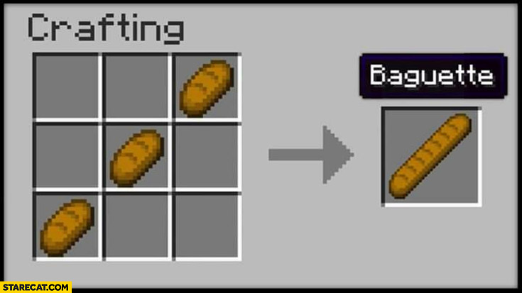 Minecraft crafting 3 breads baguette