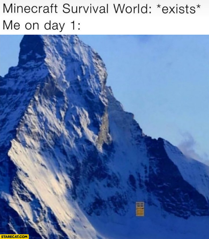Minecraft survival world exists me on day 1 mountain