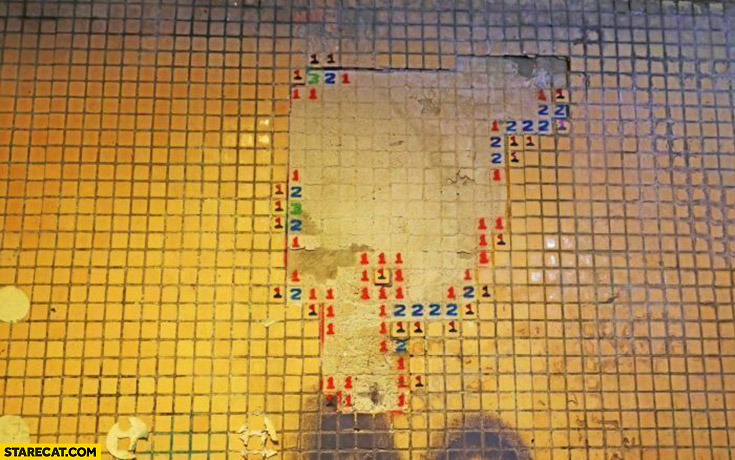 Minesweeper tiles on the wall creative use