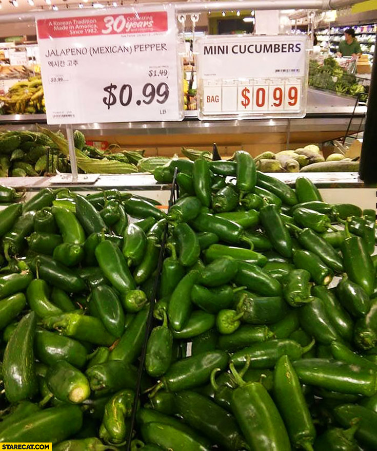 Mini cucumbers jalapeno mexican pepper mixed shopping fail