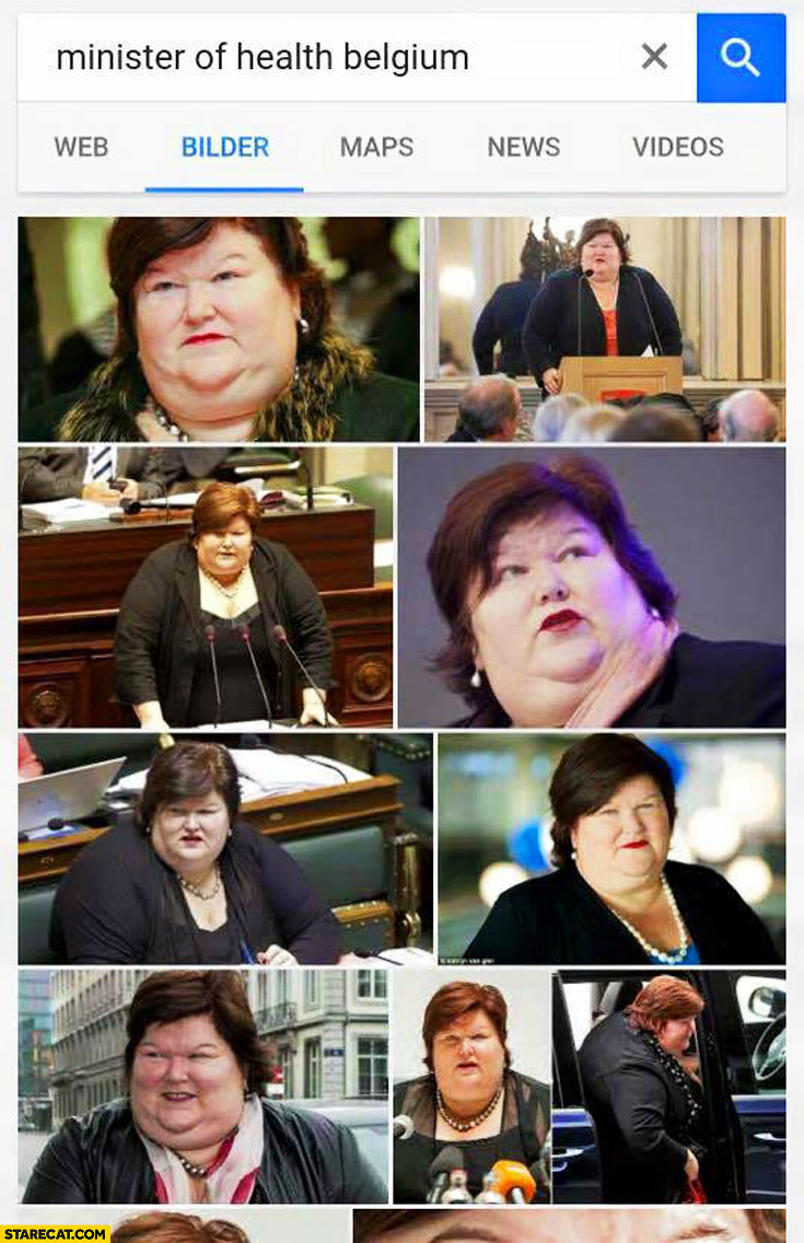 Minister of health Belgium photos fat lady