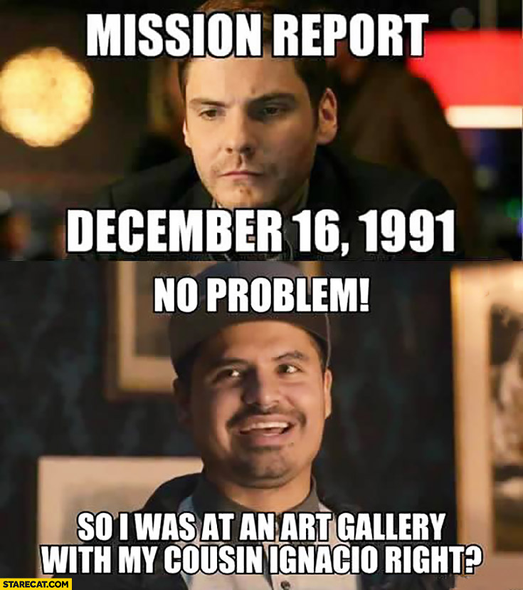 Mission report December 1991: no problem so I was at an art gallery with my cousin Ignacio, right?