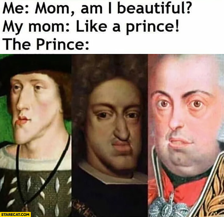 Mom am I beautiful? Like a prince, the prince with ugly face