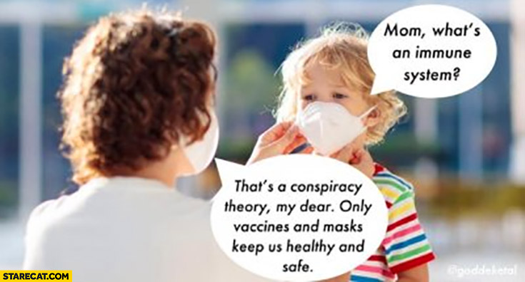 Mom what's an immune system? That's a conspiracy theory my dear, only vaccines and masks keep us healthy and safe