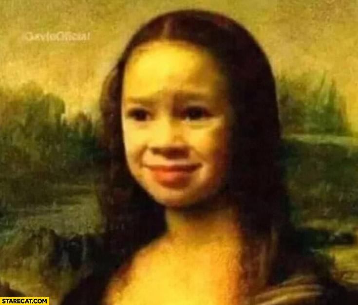 Mona Lisa confused kid painting photoshopped