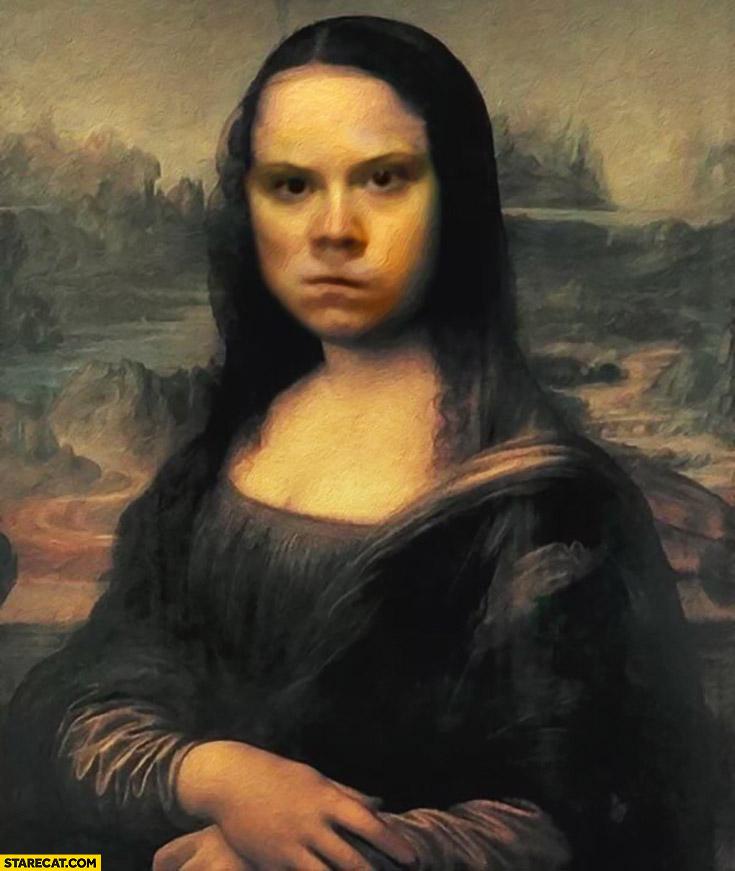 Mona Lisa Greta Thunberg painting photoshopped