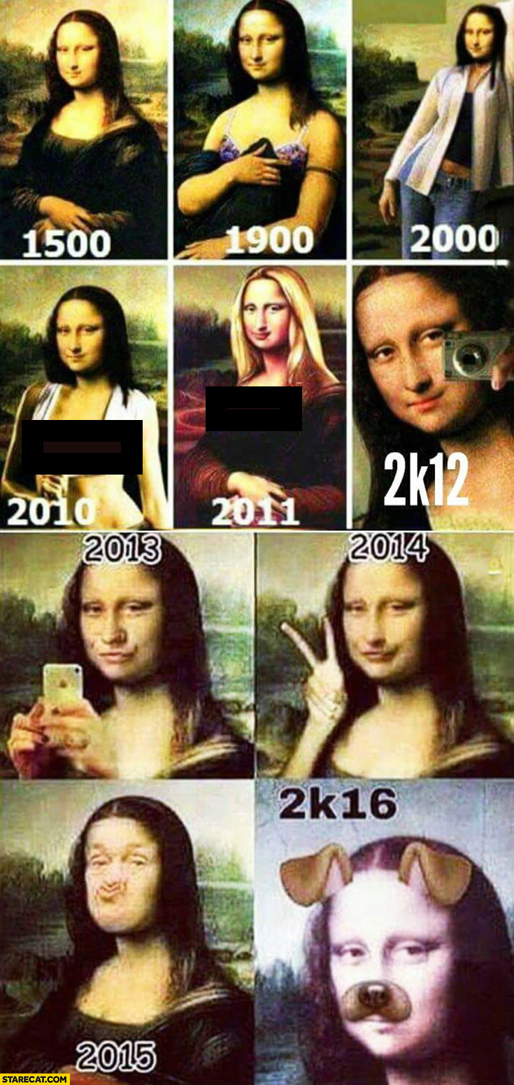 Mona Lisa in years 1500, 1900, 2000, 2010, 2011, 2012, 2013, 2014, 2015, 2016 selfie evolution comparison