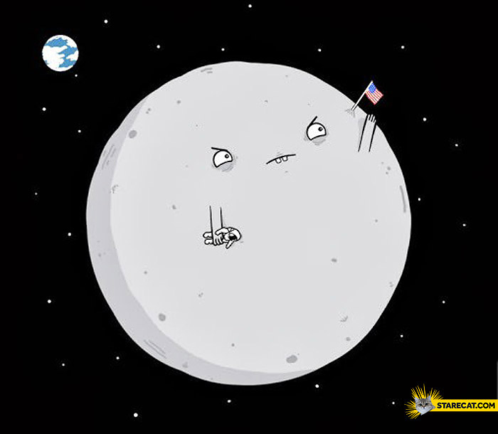 Moon with USA flag
