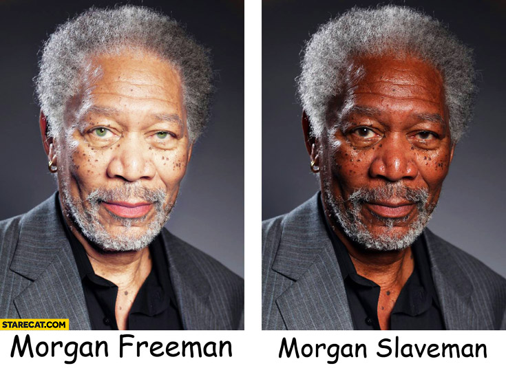 Morgan Freeman, Morgan Slaveman skin color