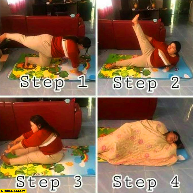 Morning exercise step 1, 2, 3, 4 sleeping