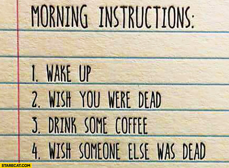 Morning instructions list: 1. wake up, 2. wish you were dead, 3. drink some coffee, 4. wish someone else was dead