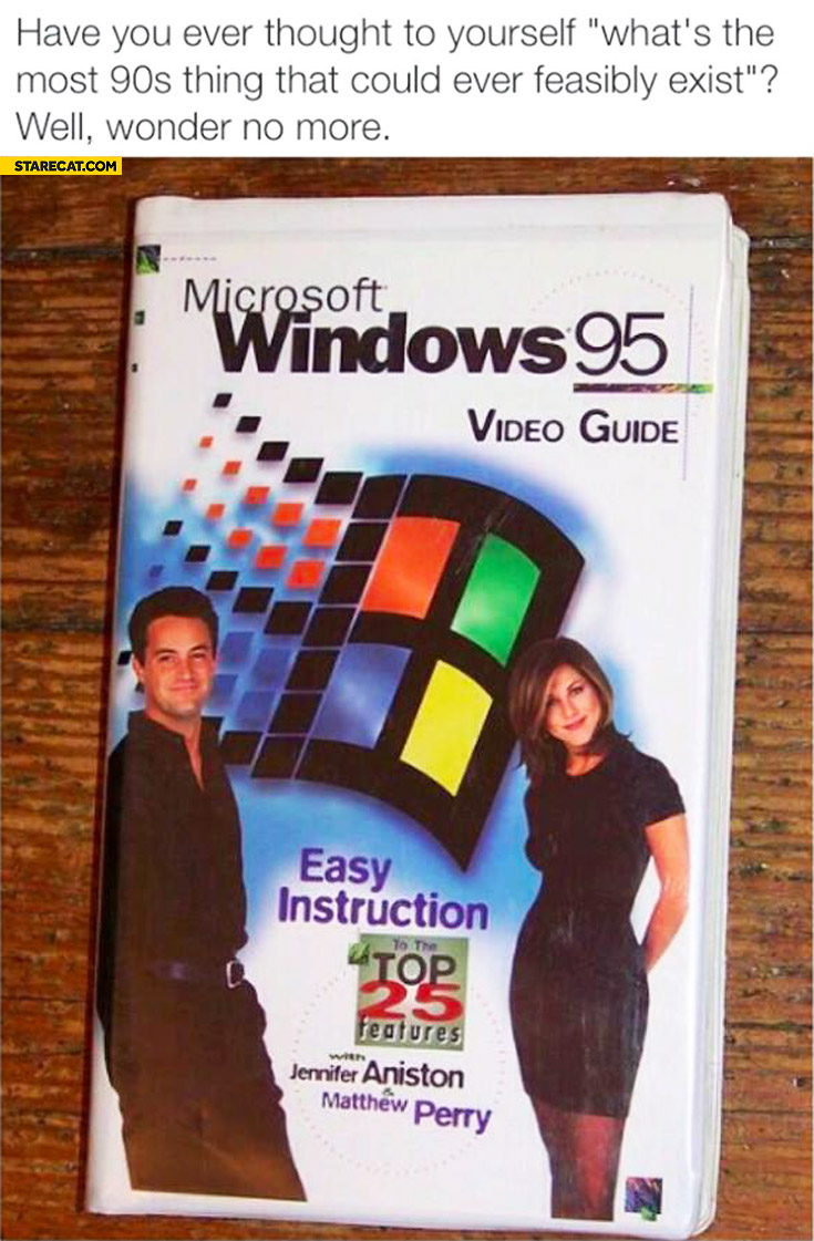 Most 90's thing that could ever feasibly exist Windows 95 video guide Chandler Rachel friends Aniston Perry