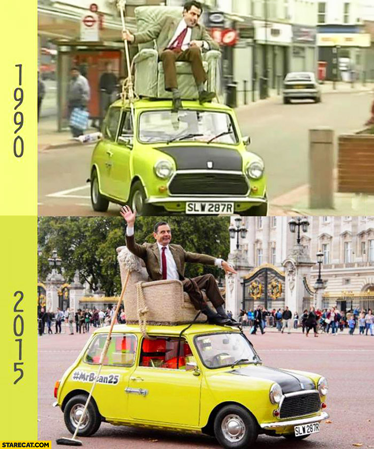 Mr. Bean riding on the roof of Mini Cooper 1990 2015