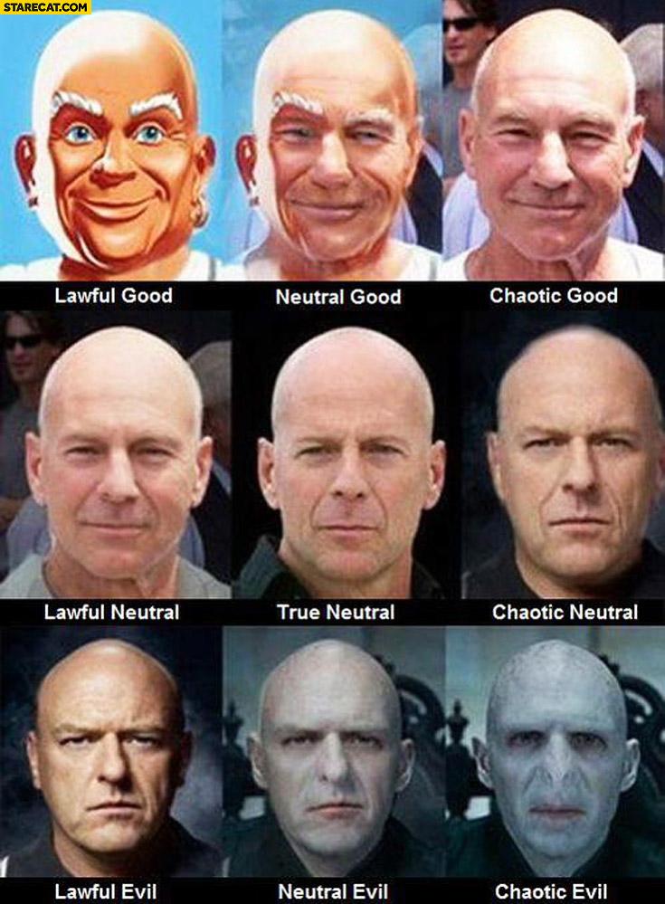 Mr Proper, Picard, Bruce Willis, Voldemort lawful good true neutral chaotic evil