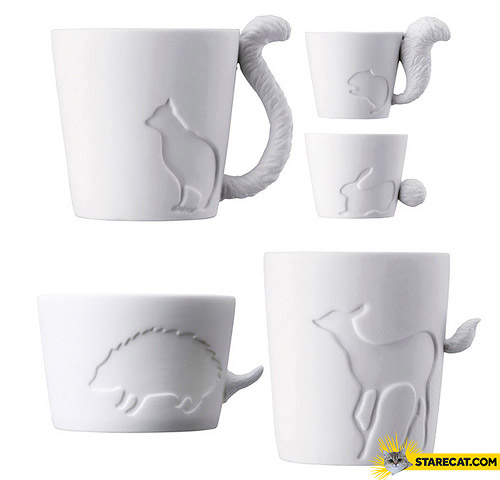 Mugs with animal tails