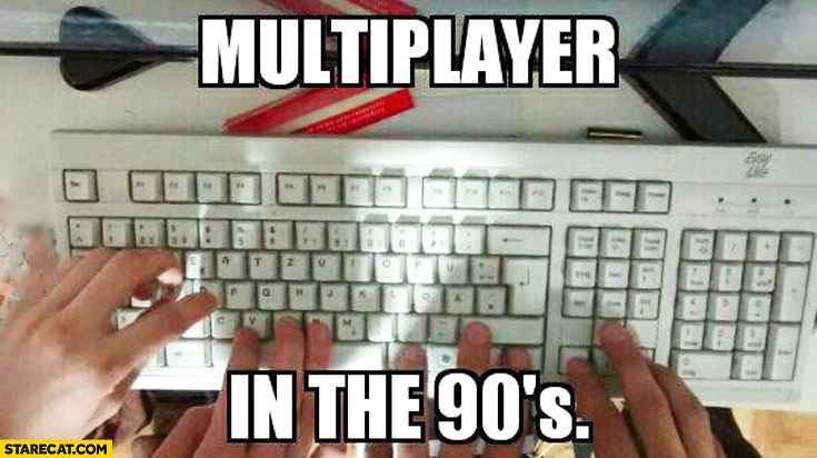 Multiplayer in the 90s one keyboard two players