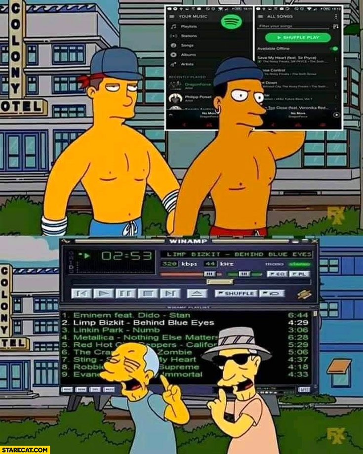 Music now Spotify vs music then Winamp comparison the Simpsons