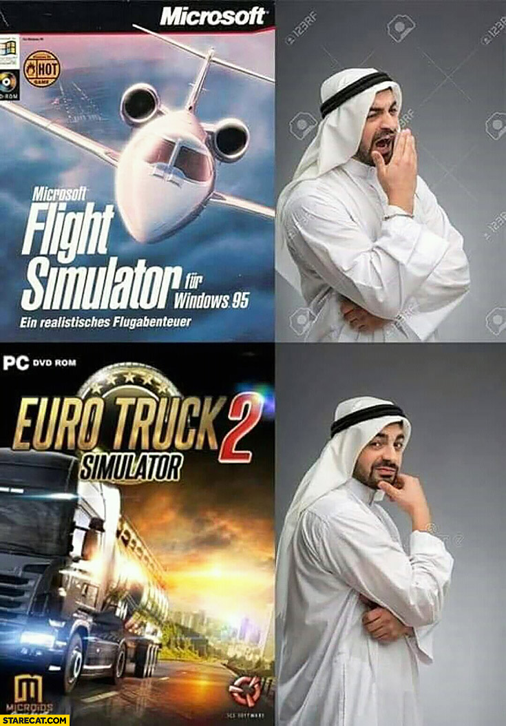 Muslim arab bored by flight simulator, interested in euro truck simulator. Terrorist attacks computer games