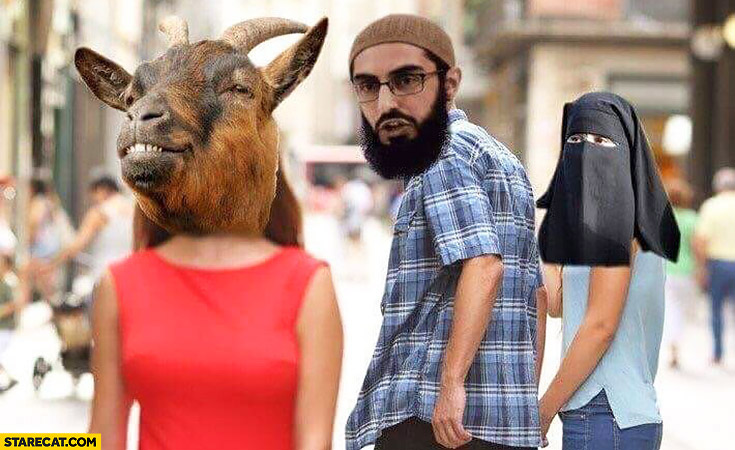 Muslim arab man looking back at a goat. His wife not happy about it
