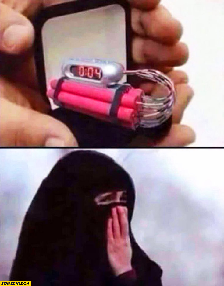 Muslim man proposing – bomb instead of wedding ring