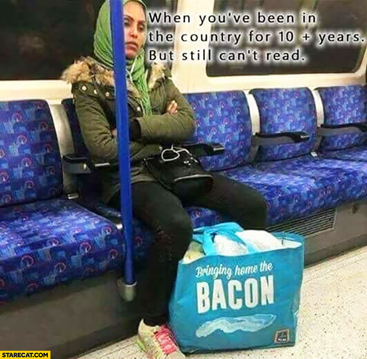 Muslim woman bringing home the bacon bag when you've been in the country for 10 years but still can't read