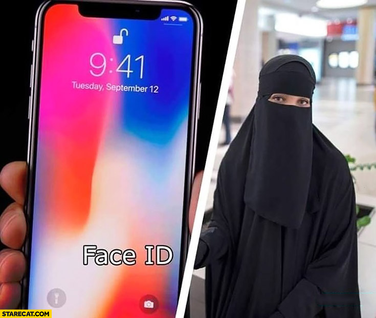 iPhone X say hello to the future muslim woman middle finger burka hijab