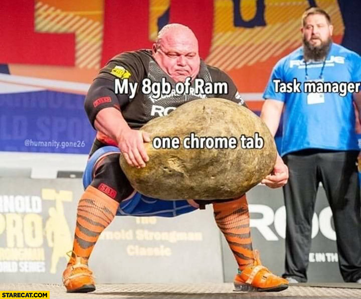 My 8GB of RAM vs one Chrome tab trying to lift a giant rock task manager watching
