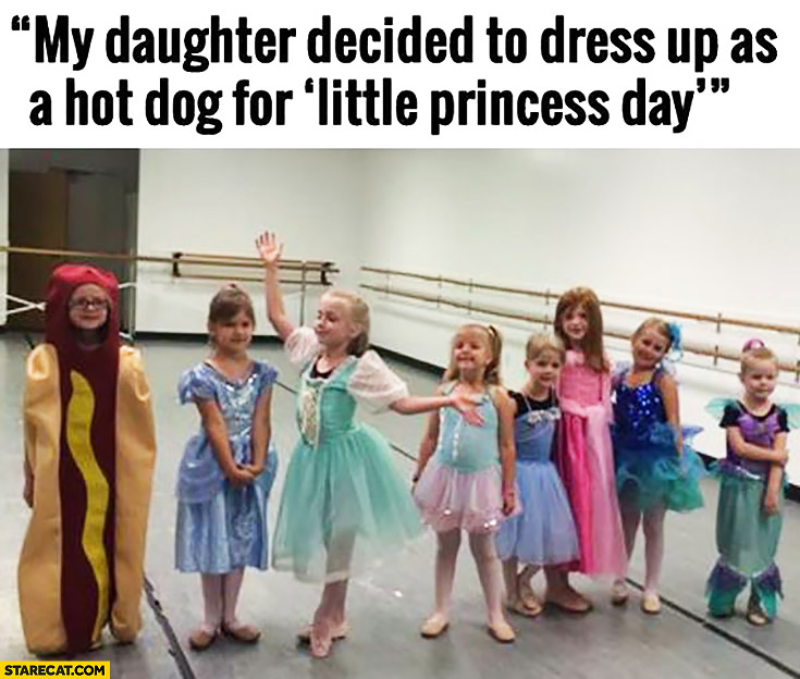 My daughter decided to dress up as a hot dog for little princess day