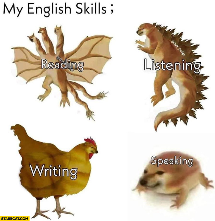 My english skills: reading, listening, writing, speaking dog doge cheems
