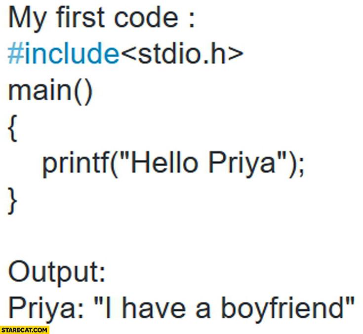 My first code: hello Priya. Output: I have a boyfriend